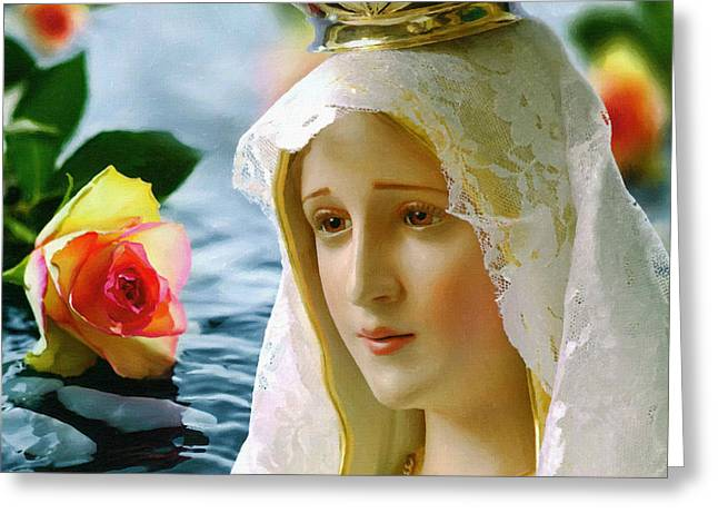 Religious Art Paintings Greeting Cards - The Virgin Greeting Card by Victor Gladkiy