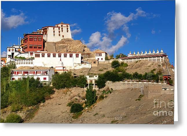 Tibetan Buddhism Greeting Cards - Thiksay monastery Ladakh Jammu and Kashmir India Greeting Card by Rudra Narayan  Mitra