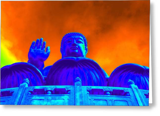 Statue Portrait Greeting Cards - Tian Tan Buddha Greeting Card by Valentino Visentini