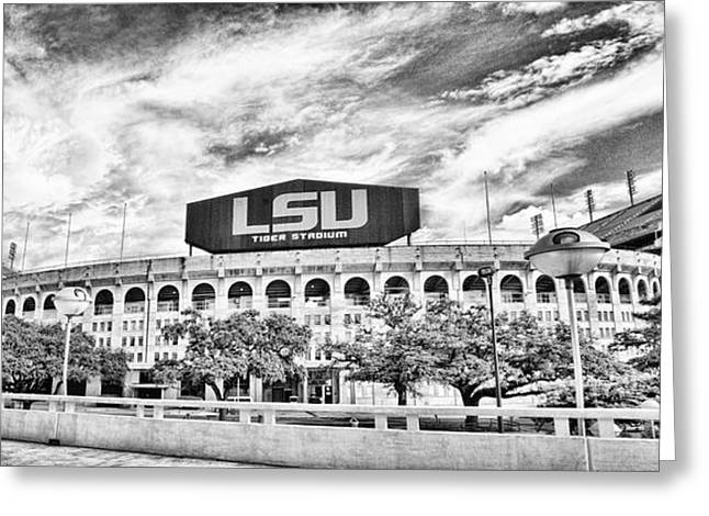 Football National Champions Greeting Cards - Tiger Stadium Panorama Greeting Card by Scott Pellegrin
