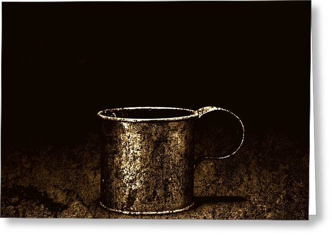 Grail Greeting Cards - Tin Cup Chalice Greeting Card by John Stephens