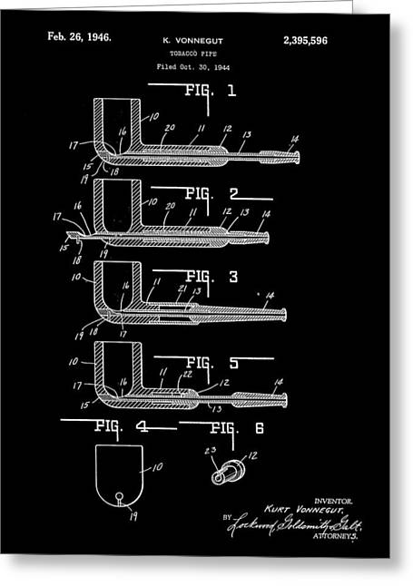 Tobacco Pipe Patent 1944 - Black Greeting Card by Stephen Younts