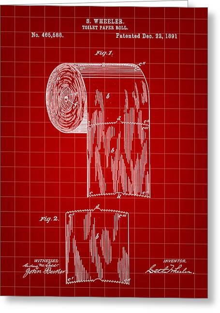 Ply Greeting Cards - Toilet Paper Roll Patent 1891 - Red Greeting Card by Stephen Younts