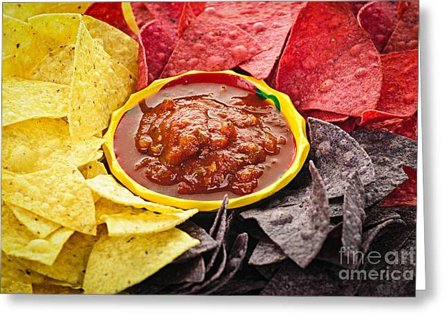 Sauce Greeting Cards - Tortilla chips and salsa Greeting Card by Elena Elisseeva