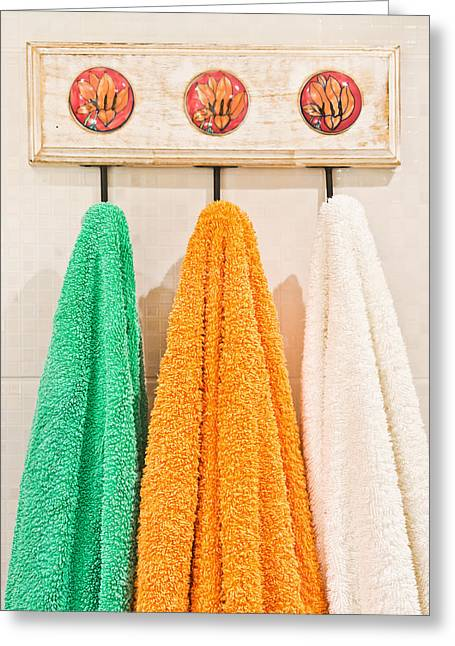 Domestic Bathroom Greeting Cards - Towels Greeting Card by Tom Gowanlock