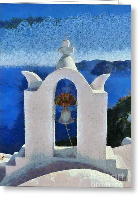 Traditional Belfry In Oia Town Greeting Card by George Atsametakis