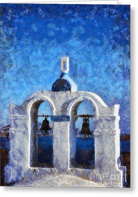 Cyclades Greeting Cards - Traditional belfry in Santorini island Greeting Card by George Atsametakis