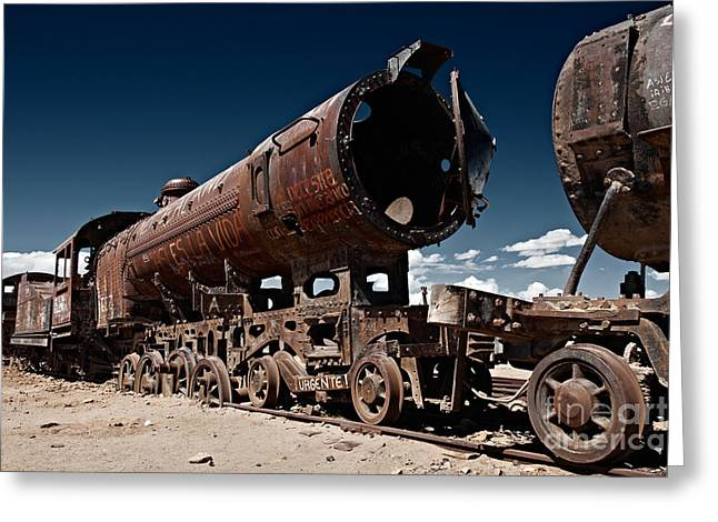 Train Cemetery Near Salar De Uyuni Greeting Card by Juergen Ritterbach