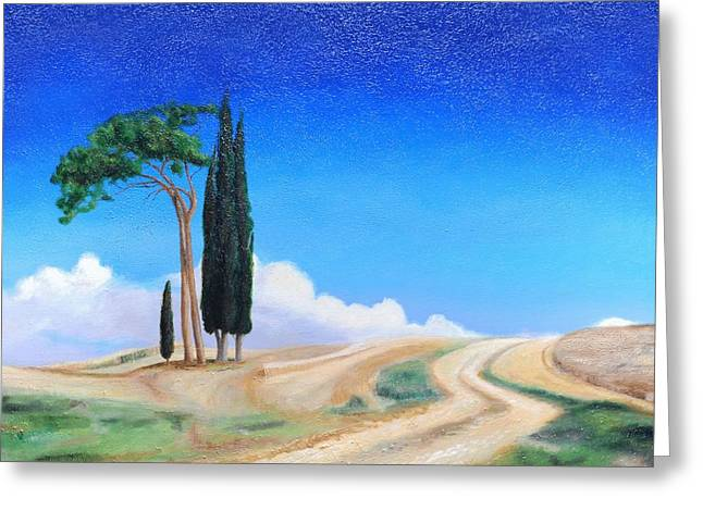 Italian Landscapes Greeting Cards - 4 Trees, Picenza, Tuscany, 2002 Oil On Canvas Greeting Card by Trevor Neal