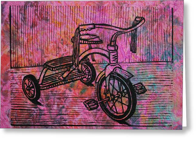Recently Sold -  - Lino Greeting Cards - Tricycle Greeting Card by William Cauthern