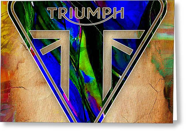 Racing Greeting Cards - Triumph Motorcycle Greeting Card by Marvin Blaine
