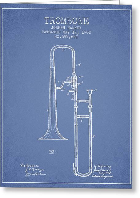 Trombone Greeting Cards - Trombone Patent from 1902 - Light Blue Greeting Card by Aged Pixel