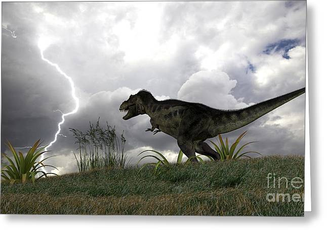 Images Lightning Digital Art Greeting Cards - Tyrannosaurus Rex Hunting In An Open Greeting Card by Kostyantyn Ivanyshen