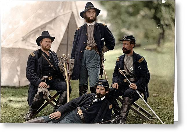 The General Lee Photographs Greeting Cards - 4 Union officers of the 4th Pennsylvania Cavalry Greeting Card by Celestial Images