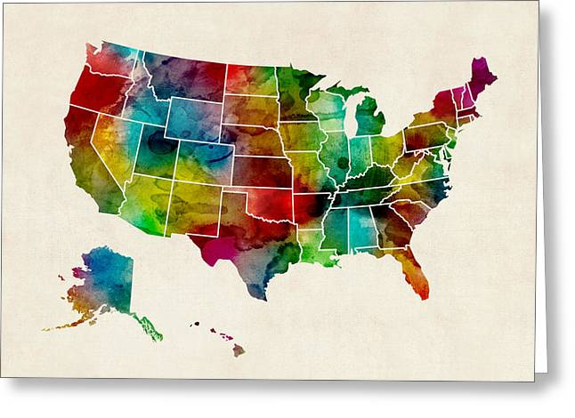 Cartography Greeting Cards - United States Watercolor Map Greeting Card by Michael Tompsett