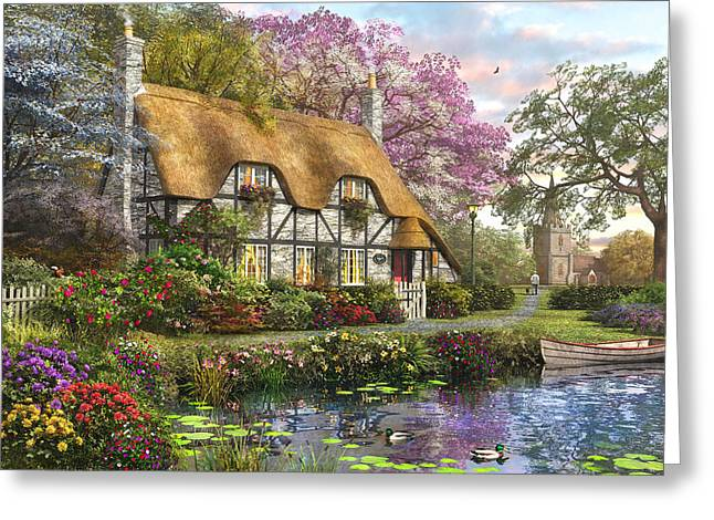 Cottage Photographs Greeting Cards - The White Stone Cottage Greeting Card by Dominic Davison