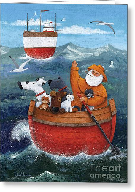 Sailing Boat Greeting Cards - Animal Boat Adventure Greeting Card by Peter Adderley