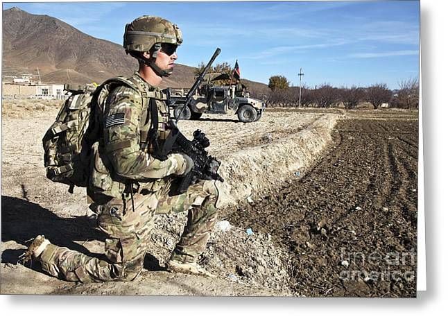 Logar Greeting Cards - U.s. Army Sergeant Provides Security Greeting Card by Stocktrek Images