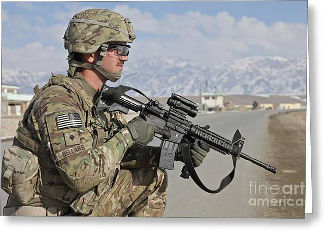 Logar Greeting Cards - U.s. Army Specialist Provides Security Greeting Card by Stocktrek Images