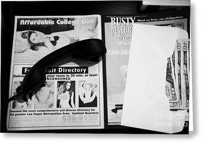 Escort Girl Greeting Cards - us dollars cash left in an envelope by the side of the bed in a hotel room in Las Vegas Nevada USA Greeting Card by Joe Fox