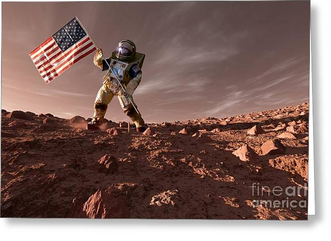 Carbon Dioxide Greeting Cards - Us Exploration Of Mars, Artwork Greeting Card by Detlev van Ravenswaay