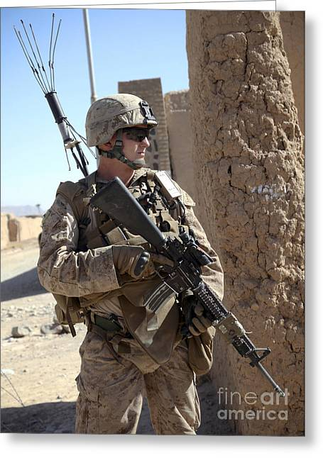 Checkpoint Greeting Cards - U.s. Marine Provides Security Greeting Card by Stocktrek Images