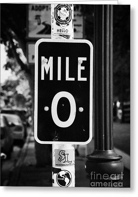 Mile Marker Greeting Cards - Us Route 1 Mile Marker 0 Start Of The Highway Key West Florida Usa Greeting Card by Joe Fox