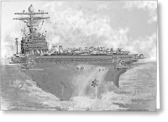 Carrier Drawings Greeting Cards - USN Aircraft Carrier Abraham Lincoln Greeting Card by Jim Hubbard