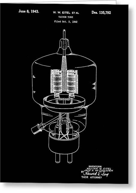 Rectification Greeting Cards - Vacuum Tube Patent 1942 - Black Greeting Card by Stephen Younts