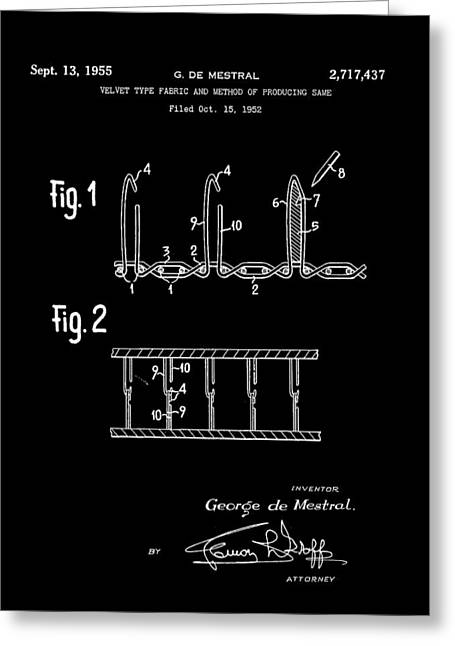 Velcro Patent 1952 - Black Greeting Card by Stephen Younts