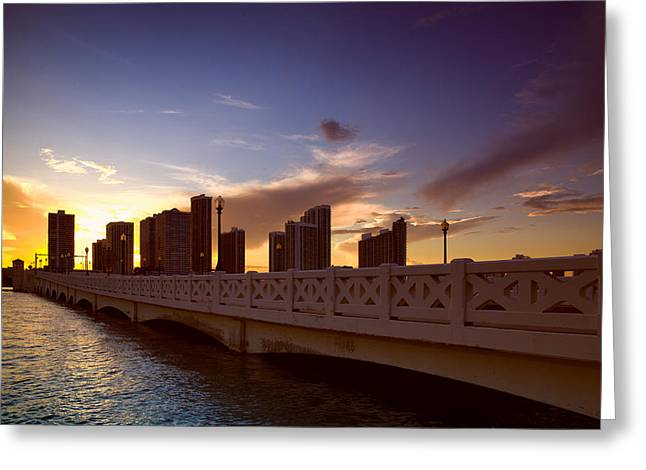 Ocean Photography Greeting Cards - Venetian Causeway Greeting Card by Celso Diniz