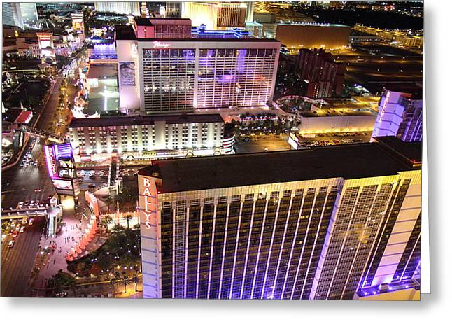 Flamingo Greeting Cards - View from Eiffel Tower in Las Vegas - 01131 Greeting Card by DC Photographer