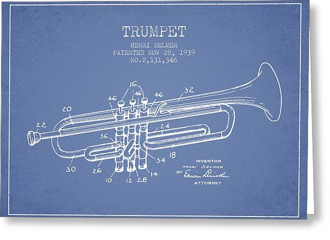 Trumpet Digital Greeting Cards - Vinatge Trumpet Patent from 1939 Greeting Card by Aged Pixel