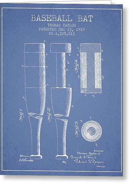 Baseball Bat Greeting Cards - Vintage Baseball Bat Patent from 1919 Greeting Card by Aged Pixel