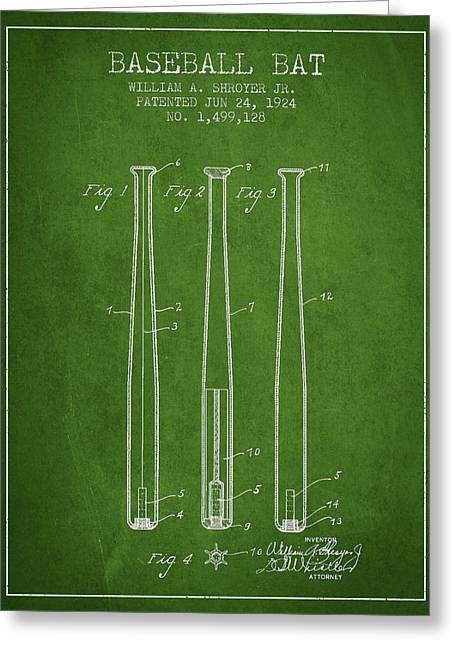Baseball Glove Greeting Cards - Vintage Baseball Bat Patent from 1924 Greeting Card by Aged Pixel