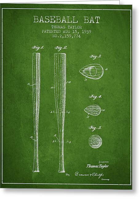 Baseball Glove Greeting Cards - Vintage Baseball Bat Patent from 1939 Greeting Card by Aged Pixel