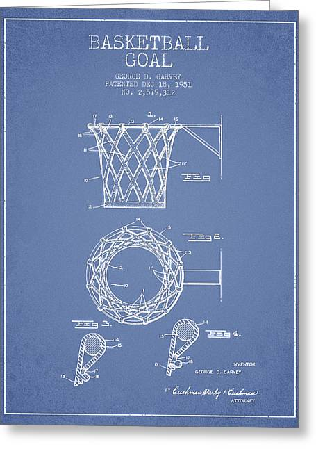 Hoop Greeting Cards - Vintage Basketball Goal patent from 1951 Greeting Card by Aged Pixel