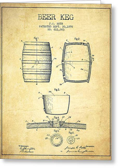 Barrel Greeting Cards - Beer Keg Patent Drawing from 1898 - Vintage Greeting Card by Aged Pixel