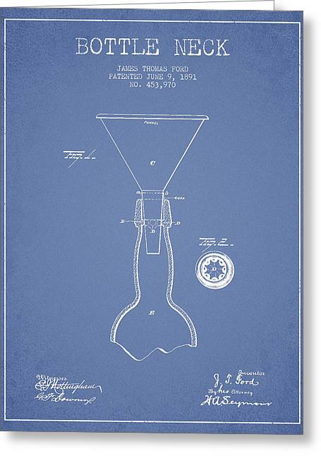 Vintage Bottle Neck Patent From 1891 Greeting Card by Aged Pixel