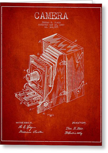 Famous Photographers Greeting Cards - Vintage Camera Patent Drawing from 1887 Greeting Card by Aged Pixel