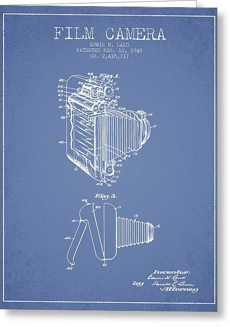 Famous Photographers Greeting Cards - Vintage film camera patent from 1948 Greeting Card by Aged Pixel