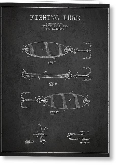 Fly Fishing Digital Art Greeting Cards - Vintage Fishing Lure Patent Drawing from 1964 Greeting Card by Aged Pixel