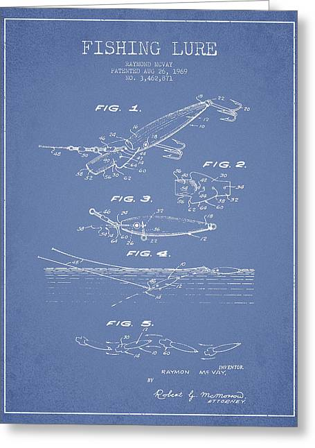 Tackle Greeting Cards - Vintage Fishing Lure Patent Drawing from 1969 Greeting Card by Aged Pixel