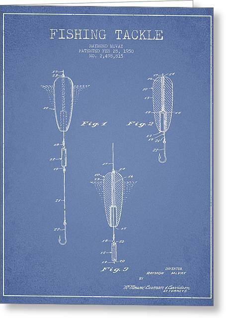 Vintage Fishing Tackle Patent Drawing From 1950 Greeting Card by Aged Pixel