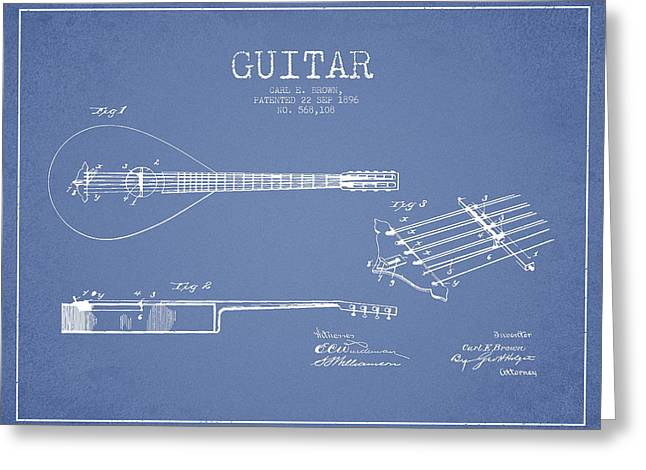 Acoustic Guitar Digital Greeting Cards - Vintage Guitar Patent Drawing from 1896 Greeting Card by Aged Pixel