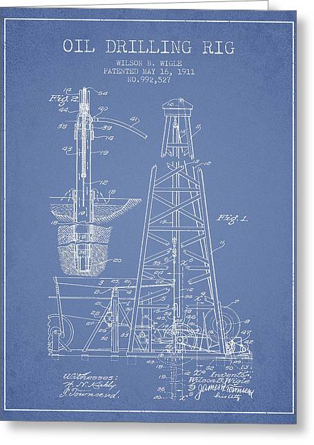 Oil Industry Greeting Cards - Vintage Oil drilling rig Patent from 1911 Greeting Card by Aged Pixel