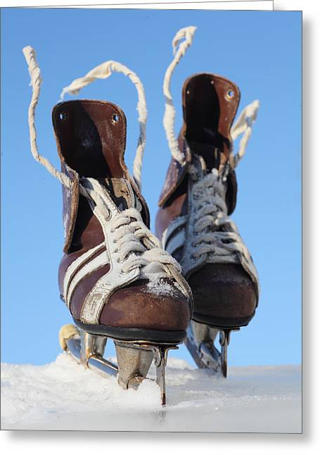 Antique Skates Greeting Cards - Vintage Pair Of Mens  Skates  Greeting Card by Mikhail Olykaynen