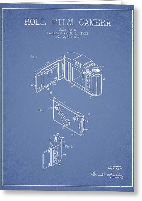 Famous Photographers Greeting Cards - Vintage roll film camera patent from 1952 Greeting Card by Aged Pixel