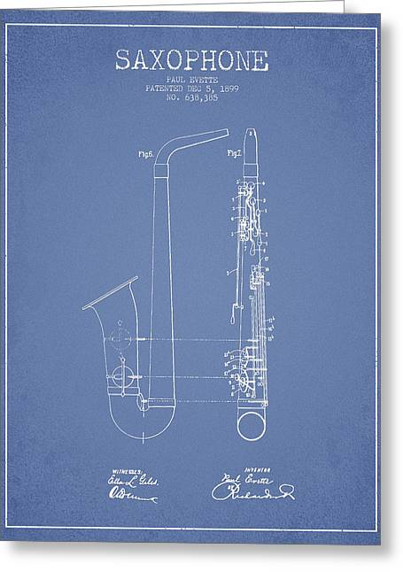 Saxophone Patent Drawing From 1899 - Light Blue Greeting Card by Aged Pixel