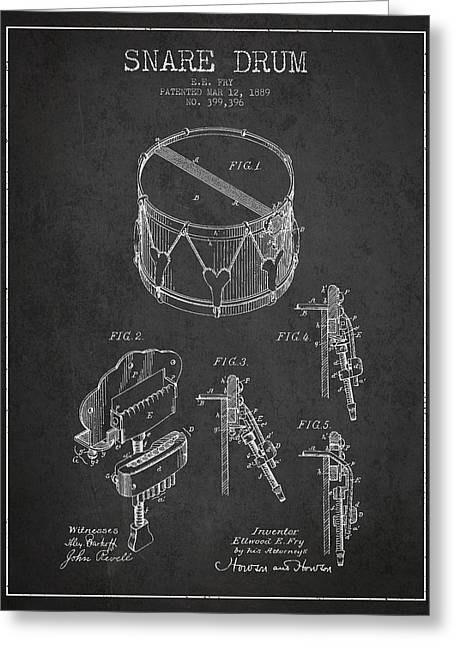 Snare Greeting Cards - Vintage Snare Drum Patent Drawing from 1889 - Dark Greeting Card by Aged Pixel